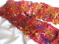 Hand Knitted Long Golden Sunset Recycled Sari Silk Drop Stitch Wraparound Scarf £16.00