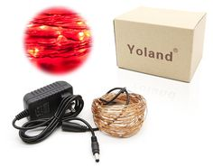 Yoland LED Copper Wire Lights, 33Ft 100LEDS with 12V AC/DC Power Adapter Starry Light, Fairy String light for Xmas, Holiday, Garden, Party, Patio Decor (Red) >> Additional details at the pin image, click it  : Wedding Decor