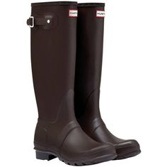 Women's Hunter Original Tall Wellington Boots - Chocolate (€125) ❤ liked on Polyvore featuring shoes, boots, wellington boots, wellies boots, short boots, tall knee high boots и knee-high waterproof boots