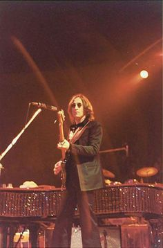 John Lennon live on stage at Madison Square Garden 1974.
