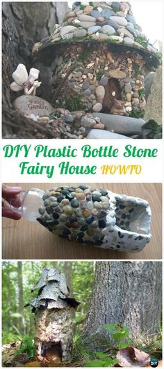 DIY Plastic Bottle Stone Fairy House Instructions - DIY Plastic Bottle Garden Projects