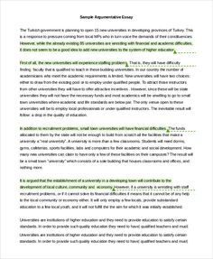 Argumentative Essay Example Samples Pdf Word Writing Papers Outline