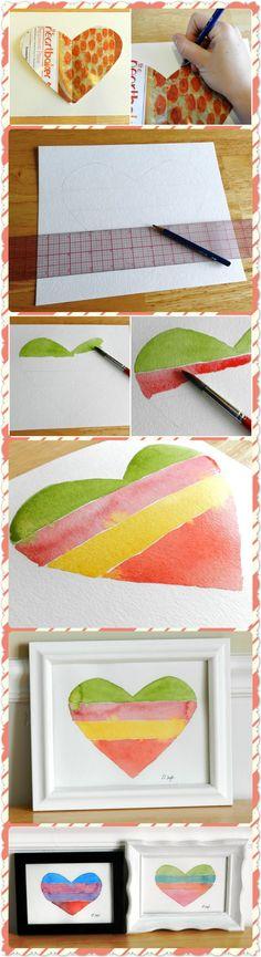 Striped Heart Watercolor Tutorial