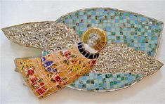 Angel in blue sky by Rah Rivers, Sculpture, ceramic collage/mosaic