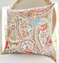 This Pillow  Moroccan Turquoise Orange Coral Pillow - Red Aqua Turquoise Paisley Floral Designer Pillow - Decorative Geometric Throw Pillow on Etsy, $36.00