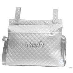 Mi Pipo – Bolso panera personalizado bebé blanco-gris, color de bordado: gris