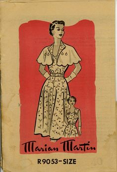 Marian Martin R9053 Misses 1950s Dress & Capelet by CynicalGirl, $18.00
