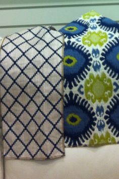 navy and cream accent chair fabric  green and blue throw pillows