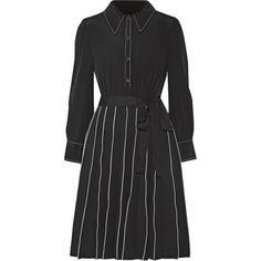 Marc Jacobs Pleated silk mini dress (59.595 RUB) ❤ liked on Polyvore featuring dresses, black, silk mini dress, retro dresses, a line dress, silk a line dress and snap dresses