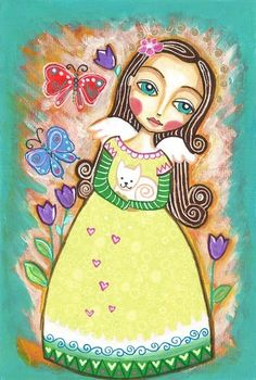 Folk Art Painting Caring Angel Print 6x9 inches by Evonagallery