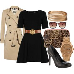 Add accessories to your plain black dress for a stylish work outfit