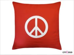 =cmCasa= 2895  White Peace Mark Throw Pillow Case/Cushion Cover