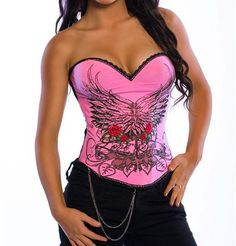 Pink Sexy Magic Printed Overbust Corset #pink #wholesale #lingeriefirst