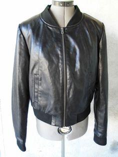 BAGATELLE Black Faux Leather Vegan Varsity Style Zip Front Jacket Size Med #Bagatelle #Varsity