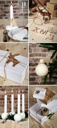 Trendy ideas - white candles for #Christmas decor!
