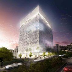 2°Lugar: Concurso Bolsa de Valores de Teerã : Hadi Teherani Office + Design Core [4S] CHAPAS METÁLICAS PERFURADAS + VIDRO