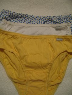 458d6abf545 JOCKEY Womens 100% Cotton Panties Size 7 Bikini 3 Pack NWT Yellow   White
