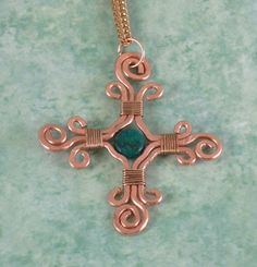 FREE SHIPPING Hammered Copper Celtic Cross Pendant Necklace Wire Wrapped Jewelry Handmade With Green Jasper