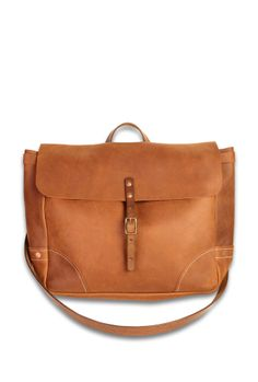 WITTMORE — Stanley & Sons — Stanley & Sons Brown Leather Postal Messenger Bag