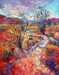 California desert ocotillos original oil painting by Erin Hanson