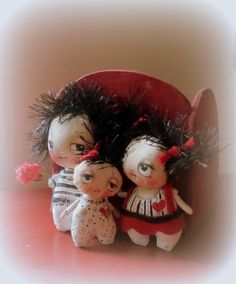 Little hand painted cloth doll black white and by suziehayward