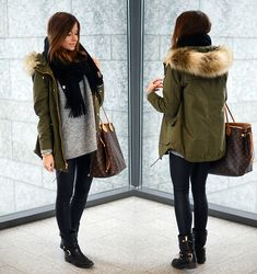Cold weather outfit. Grey sweater, black scarf, black leggings/ black pants, green parka, and black booties. Mariannan,