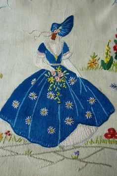 Vintage Hand Embroidered Crinoline Lady on Linen Vintage Embroidery, Ribbon Embroidery, Embroidery Art, Cross Stitch Embroidery, Embroidery Patterns, Quilt Patterns, Machine Embroidery, Embroidery Transfers, Needlework