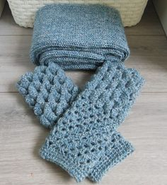 Dragon gloves and infinity scarf set, denim blue mermaid gloves and ladies cowl gift set
