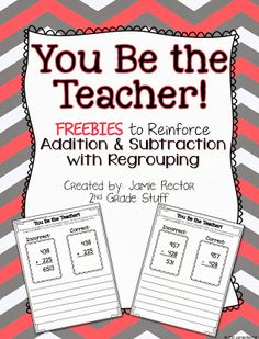 A {FREEBIE} that integrates math computation and writing when learning addition and subtraction with regrouping. by Janice Phillips Math Teacher, Math Classroom, Teaching Math, Classroom Ideas, Teaching Ideas, Future Classroom, Teacher Stuff, Teaching Tools, Second Grade Math