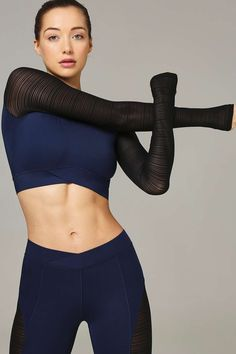 Linear Mesh Crew Crop Top by Ivy Park
