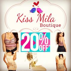 Take 20%off full-price items using code: Kiss  only at kissmilaboutique.com