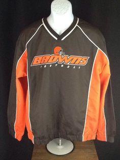Cleveland Browns NFL TEAM APPAREL V-Neck Pullover Jacket Coat L Sewn Patches EUC #TeamApparel #ClevelandBrowns