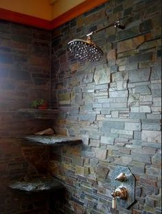 slate showers | slate shower | Rustic house Though i would sure hate to fall in the shower :P #RusticDecorApartment Slate Shower, Rustic Shower, Rock Shower, Stone Bathroom, Bathroom Renos, Bathroom Mirrors, Bathroom Ideas, Shower Ideas, Bathroom Showers