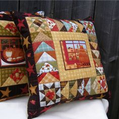 Applique Pillows, Sewing Pillows, Diy Pillows, Patchwork Cushion, Quilted Pillow, Cushion Fabric, Small Quilts, Mini Quilts, Panel Quilts