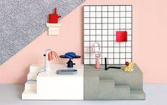 Editorials for Elle Decor Italia by Studiopepe. Memphis Design, Conception Memphis, Objet Deco Design, Lucite Furniture, 80s Design, Graphic Design, Memphis Pattern, Office Walls, Elle Decor
