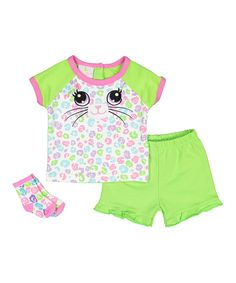 Take a look at this Lime & Pink Leopard Print Kitty Tee Set - Infant today!