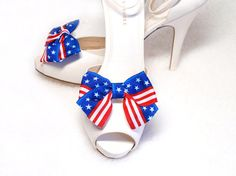 Patriotic Shoe clips Ribbon Navy Blue White Stars and by daisyclub, $12.00