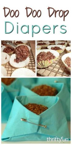 This is a guide about making doo doo drop diapers. These funky, chocolatey oatmeal treats are perfect for a baby shower when tucked into napkin diapers.