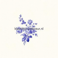 Delfst blauw muurbloempje behang 115717, Belle Rose van Esta home
