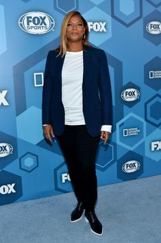 Queen Latifah Leather Lace-ups - Queen Latifah completed her outfit with black leather lace-ups.