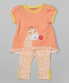 This Orange Leopard Giraffe Tunic & Leggings - Infant by Buster Brown is perfect! #zulilyfinds