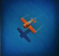 Blue by Robert LaDuke Art Deco Posters, Vintage Posters, Vintage Art, Gravure Illustration, Illustration Art, Art Optical, Airplane Art, 3d Prints, Art For Art Sake
