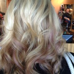 Subtle pinkish lilac highlights in blonde! Cut color and style by Ashley Cady at Berenices Salon in Denver CO #aveda