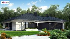 A One story House With A Double Garage Bungalow Haus Design, Modern Bungalow House, Bungalow House Plans, Home Building Design, Home Design Plans, Building A House, One Level House Plans, Narrow House Plans, House Front Design