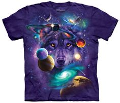 The Mountain Tee with Wolves of the Cosmos design by Tami Alba. This heavyweight 100% Cotton T-Shirt will last you for years and features an over-sized relaxed fit, with reinforced double-stitching on