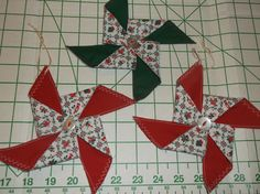 3 Forest Green and Red with Red Green White Christmas Print Fabric Pinwheel Ornaments Handcrafted Christmas Home Decor by TheRoyaleRagbag on Etsy