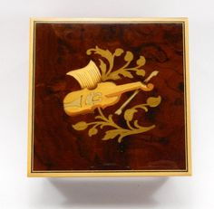 Inlaid Violin Music Box Wood Footed Plays by QueeniesCollectibles