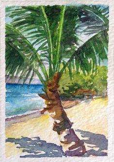 ACEO Vosberg Original Watercolor Tropical Palm Tree Ocean Beach Maui Hawaii #watercolorarts