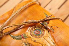 Bull Skull Leather Journal Indian ornament Handmade by TiVergy