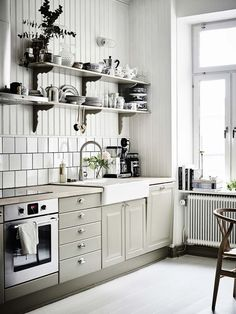 Galley Kitchen Remodel Ideas - A galley kitchen is a household kitchen design which consists of two parallel runs of units. Grey Kitchens, Home Kitchens, Küchen Design, House Design, Sink Design, Design Styles, Urban Design, Galley Kitchen Remodel, Kitchen Remodeling
